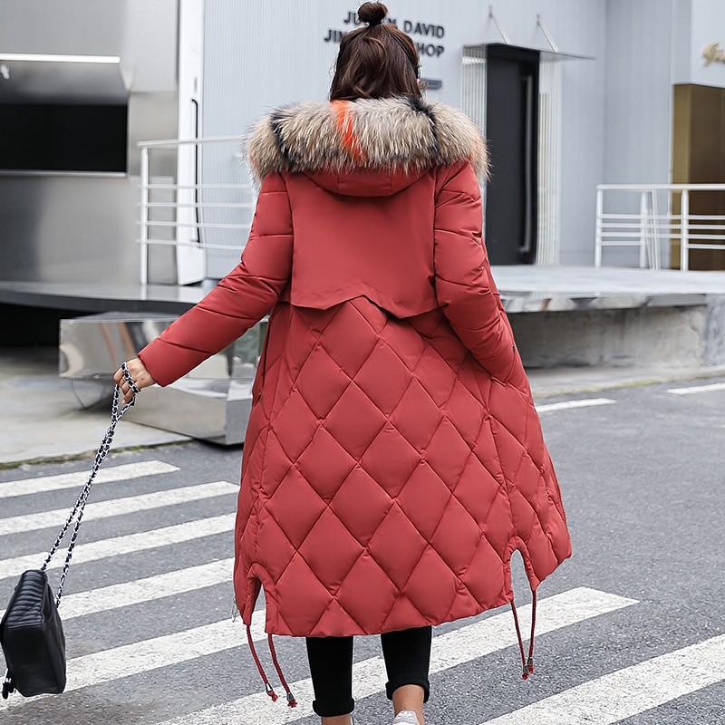 gris dark Taille Coton Green Femelle Femmes Capuchon noir Rembourré Manteau À Long Veste Artificielle De marron 2018 army Red Parka En Plus Épaississent 3xl Chaud Beige Fourrure Survêtement D'hiver rouge HqASSf