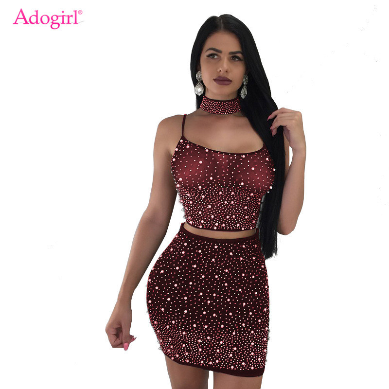 Adogirl Sheer Mesh Pearls 3 Piece Set Women Sexy Night Club Outfits Choker+Spaghetti Straps Lace Up Backless Crop Top+Mini Skirt