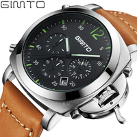 GIMTO Brand Sports Watches Men Leather Casual Analog Quartz Watch Fashion Black Waterproof Military Wristwatch Relogio
