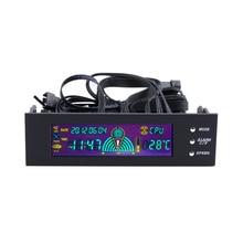 Высокое качество 5.25 дюймов PC контроллер скорости вентилятора дисплей температуры ЖК-дисплей на передней панели регулятор скорости Лидер продаж оптовая продажа в наличии!