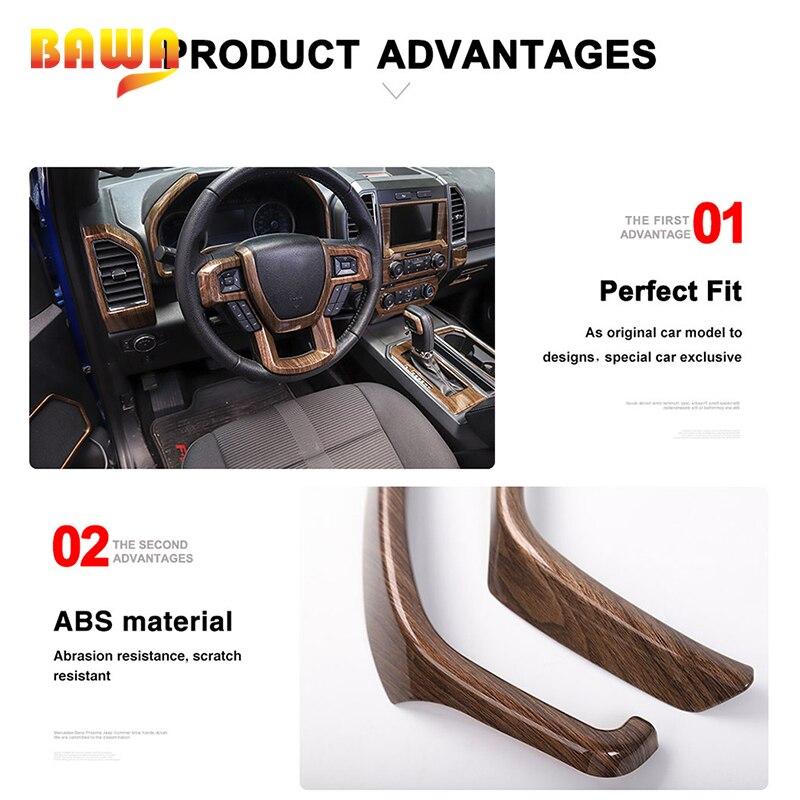 Moulures intérieures BAWA pour Ford F150 2015 + autocollants de décoration intérieure en Fiber de carbone - 4