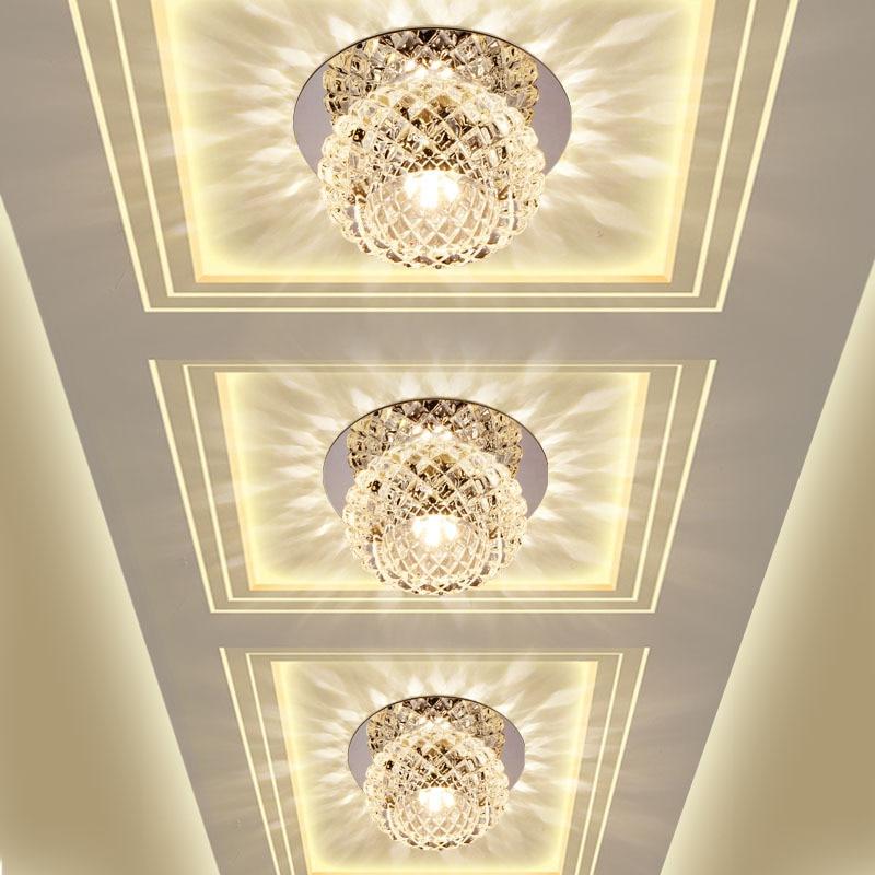 Modern Crystal Glass LED Ceiling Spot Light Corridor ...