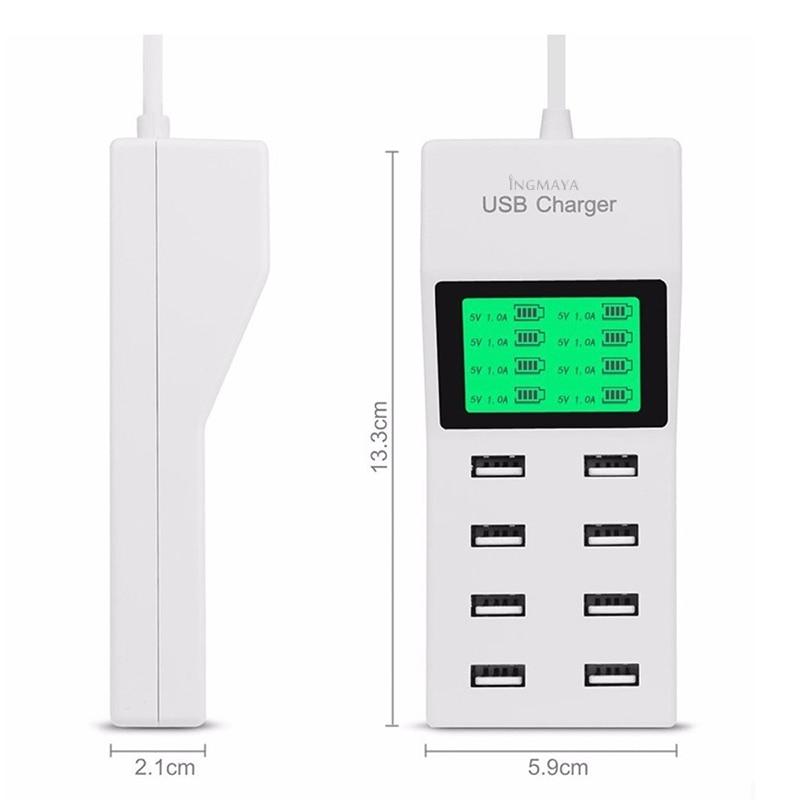 INGMAYA 8 Port USB Charger Daya 5V8A LCD Display Untuk iPhone 5 5 S 6 - Aksesori dan suku cadang ponsel - Foto 2