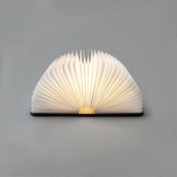 Creative Wood Foldable Pages LED Book Shape Night Light Lighting Lamp Portable Booklight USB Rechargeable Home