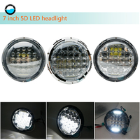 for Jeep Wrangler JK CJ 7 Inch LED Headlights DRL High Low Beam with H4 Hi Lo 5D Projector 75W Led Headlight for Lada Uaz Niva.