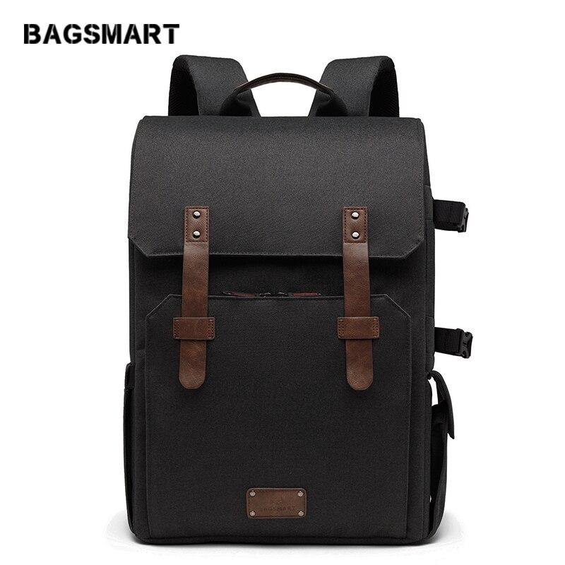 BAGSMART Multifunctional Camera Backpack for SLR DSLR Cameras 15 6 Laptop Camera Bag with Waterproof Rain
