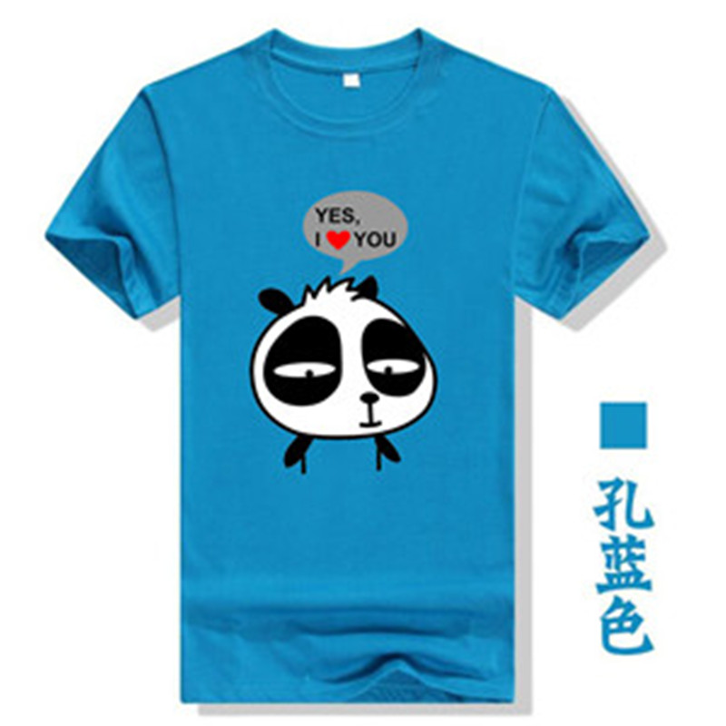 2019 Latest Design Animal Cartoon Panda Letters Print Bts Tees Short Sleeve Cotton Summer 2019 Women T-shirt Camisas Couple Tops Blue Tshirt T300