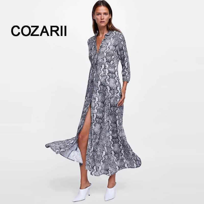 COZARII 2018 women leopard print ankle length dress Snake skin tie sashes long sleeve retro ladies casual chic dresses vestidos