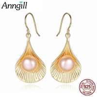 925 Sterling Silver Shell Design Gold Drop Earrings Female Natural Pearl Earrings Wedding Evening Jewelry Wholesale