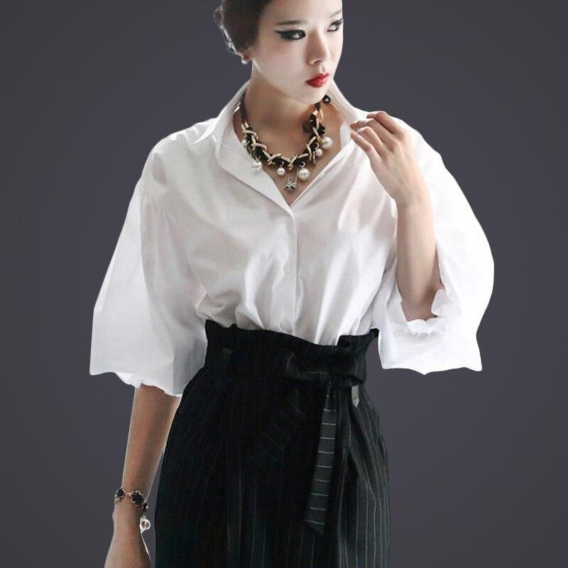 Fasicat старинные блузка roupas femininas camisas половина слоеного рукав отложным воротником женская одежда офис блузка S140107