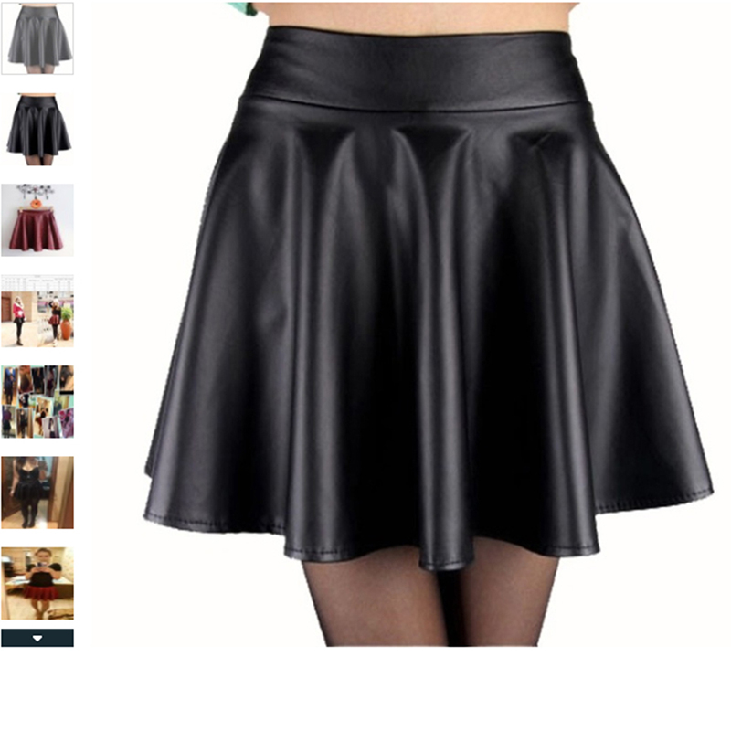 Sexy PU Leagth Skirt Women Slim High Waist Short Mini Skirt Pleated Party Faux Leather Skirts