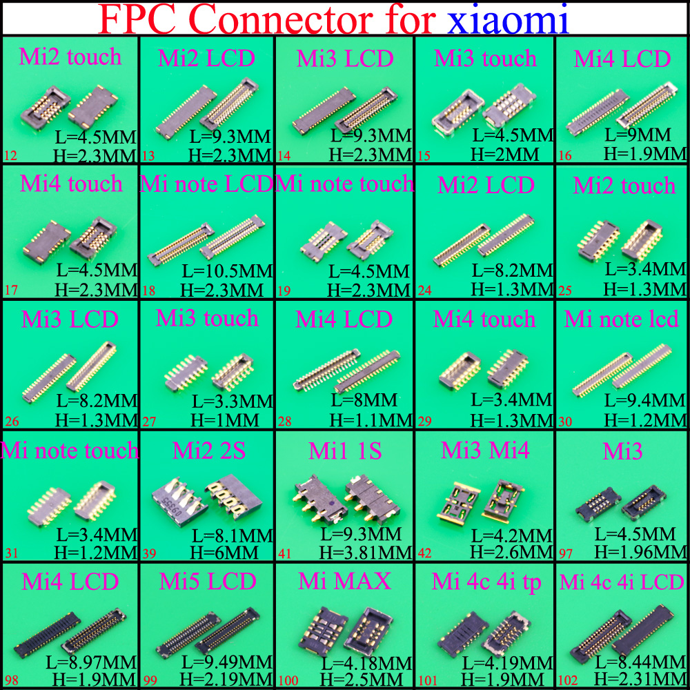 YuXi Brand New LCD FPC Connector/Touch Motherboard FPC Connector/display Motherboard FPC For Xiaomi 1/2/3/4/5/Note /max/4C 4i