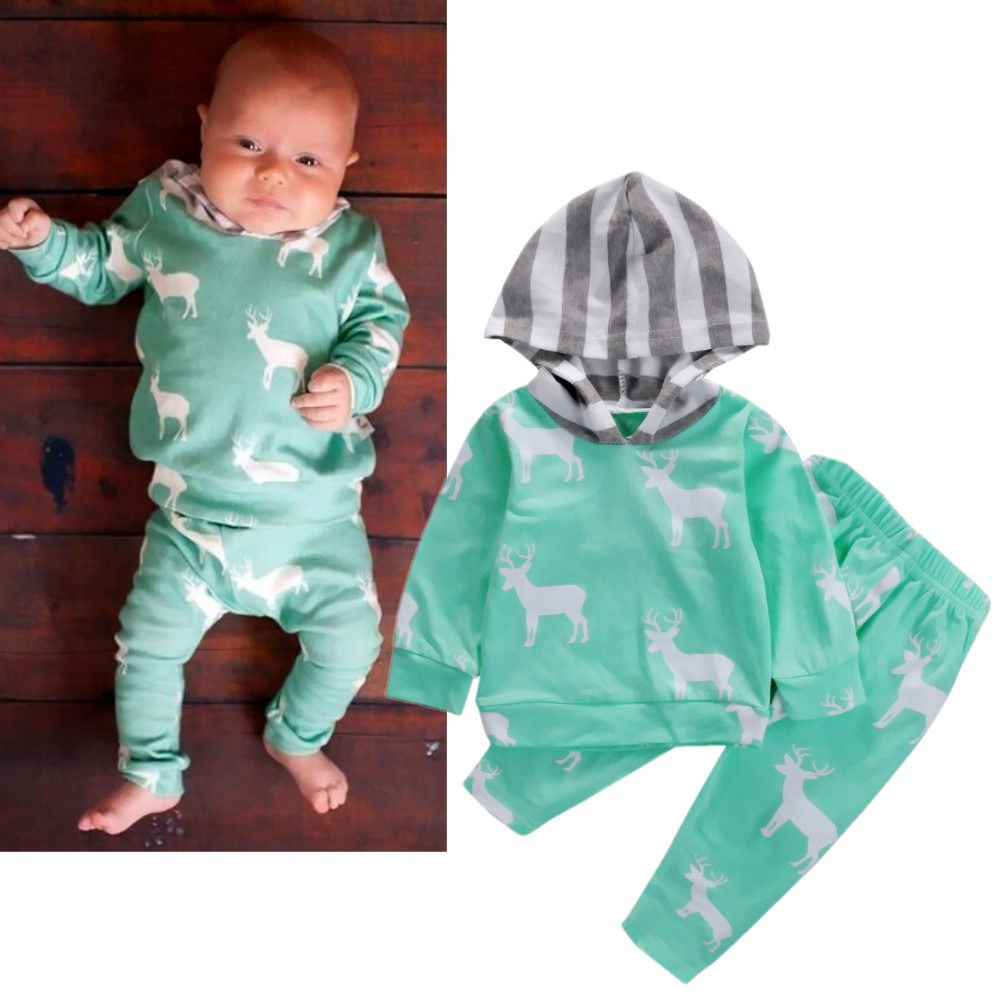 Newborn Infant Baby Boy Girl Deer Hooded Tops Coat Pants Outfits Clothes Set 2pcs set baby clothes set boy