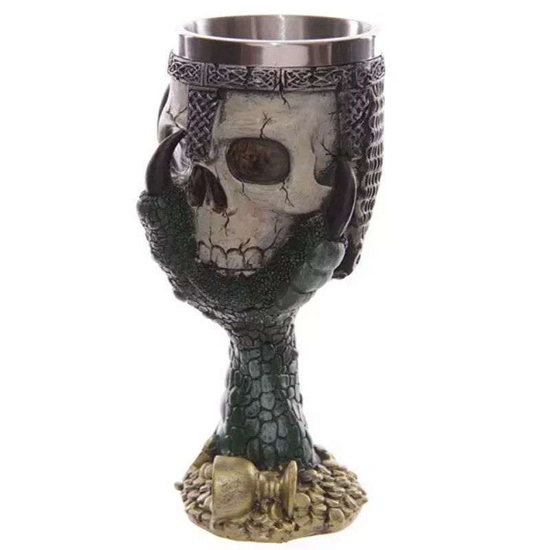 Party Gift 300ml Double Wall Resin Stainless Steel 3D Skull Drinking Mug Personalized Dragon Bone