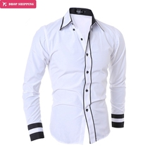 Men Shirt 2018 New Fashion Brand Men'S Cuff Striped Long-Sleeved Shirt Male Camisa Masculina Casual Slim Male Shirts XXL,G7454