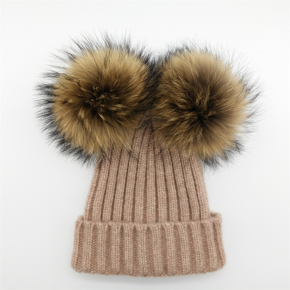 Famous Lanxxy Real Mink Fur Pompom Hat Women Winter Caps Knitted Wool  VF88