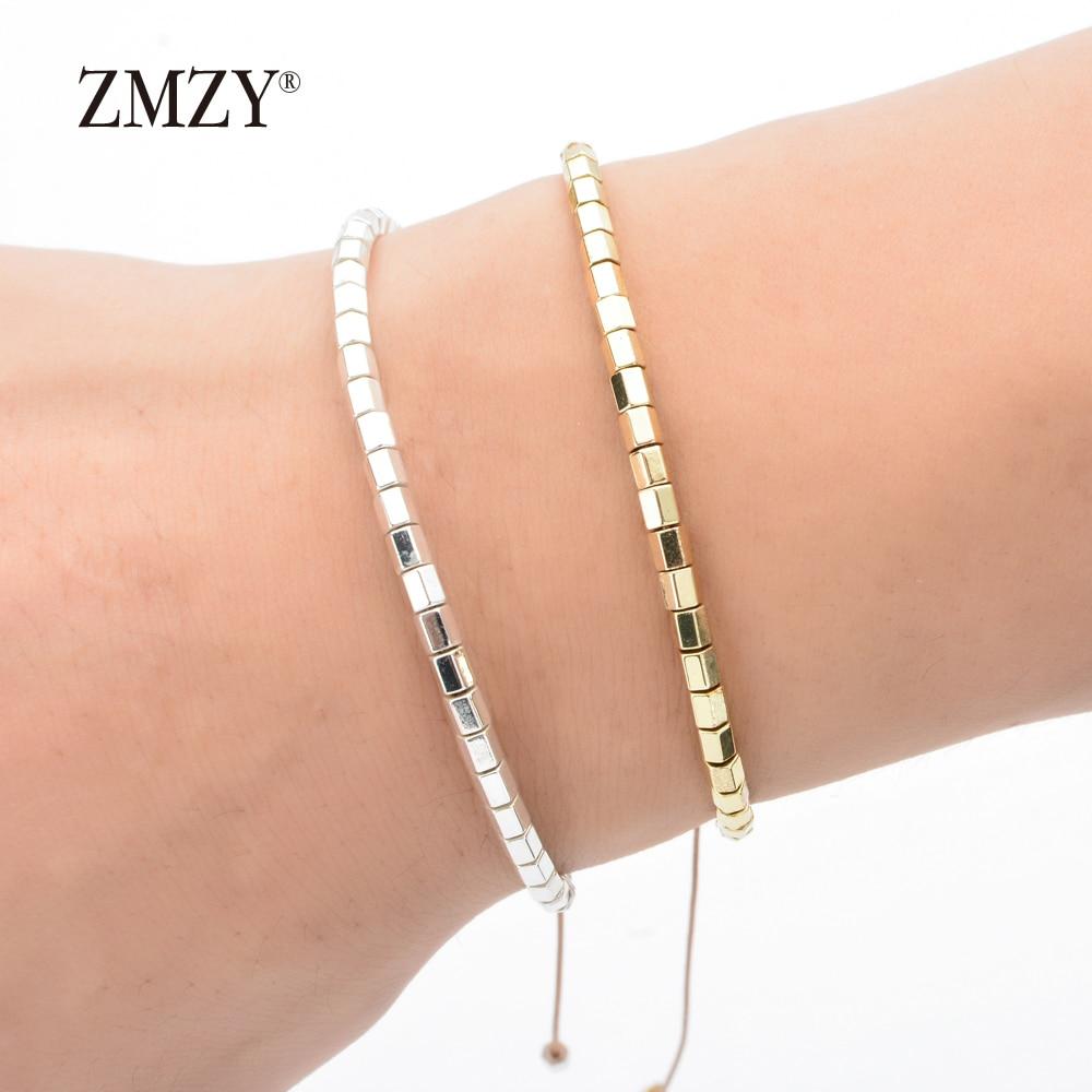ZMZY Adjustable Square Gold/Silver Color Hematite Bracelets Minimalist Small Beads Braclet For Women Yogo Biker Hand Jewelry