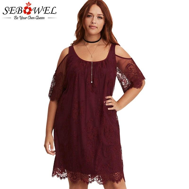 Burgundy-Plus-Size-Lace-Cold-Shoulder-Trapeze-Dress-LC220363-3-1