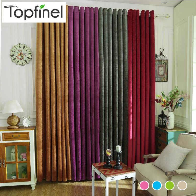 New Luxury Solid Chenille Thick Finshed Window Blackout Curtains For living Room the Bedroom Window Treatment shade Panel Drapes