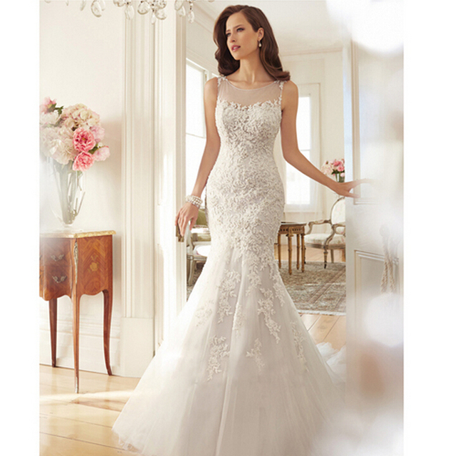 Romantic Simple Mermaid Slim Wedding Dress Body Shape Dress For ...
