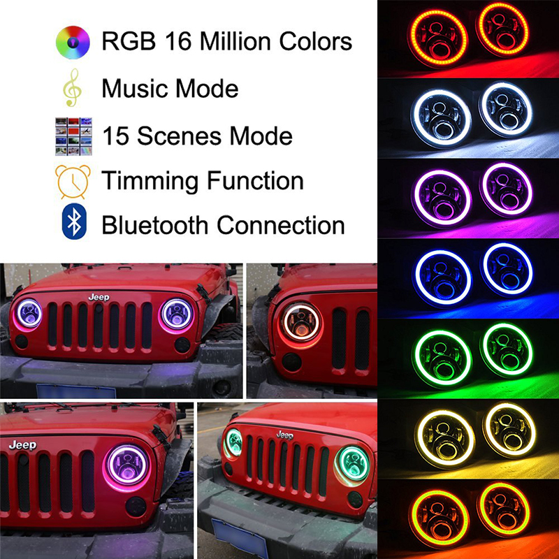 7'' LED Headlights Bulb RGB Halo Angel eye with Bluetooth Remote for 97-16 Jeep Wrangler JK CJ LJ Hummer H1 H2 Headlamp windshield pillar mount grab handles for jeep wrangler jk and jku unlimited solid mount grab textured steel bar front fits jeep