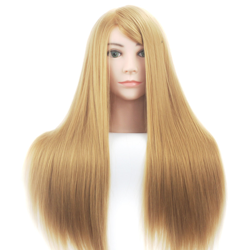 Mannequin Head Blonde Hair Salon Doll Heads Training Female Maniqui Head Hairstyles Cosmetology Hairdressing Head Model