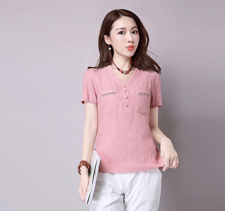 Short sleeve blusas feminina ver o 2019 summer tops women tops linen shirt women blouses off shoulder women blouse 2