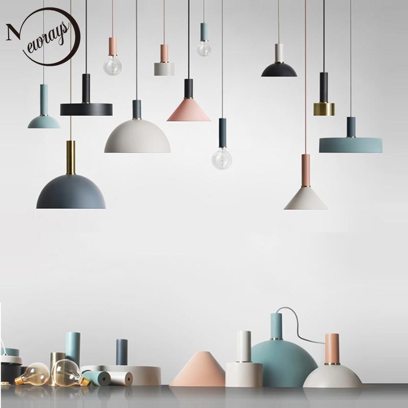 Nórdico simple colgante luz E27 LED creativa moderna lámpara colgante diseño por ti mismo para sala de estar dormitorio vestíbulo restaurante bar