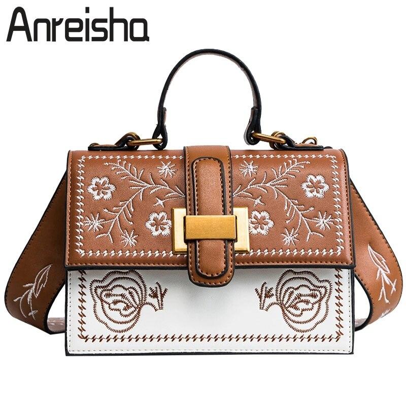 Anreisha New Design Handbags For women Female European Style Flower Shoulder Bags Girl Lady Vintage Messenger Bag Fashion Bolsa