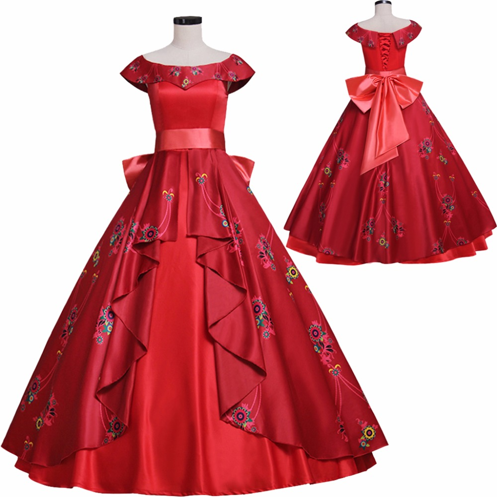 CosplayDiy Women's Dress Elena of Avalor Princess Elena Dress Red Princess Dress Costume Cosplay for Party