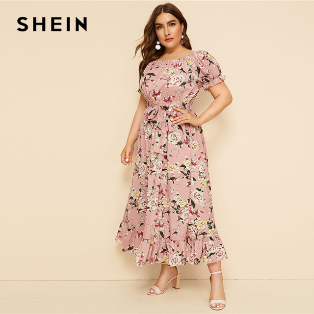 SHEIN Plus Size Pink Ruffle Hem Floral Print Belted Long Dress Women 2019 Summer Autumn Boat Neck High Waist A Line Boho Dresses 2