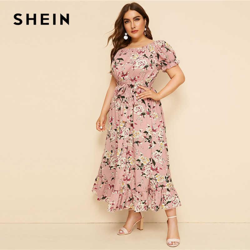 SHEIN Plus Größe Rosa Rüschen Hem Floral Print Belted Lange Kleid Frauen 2019 Sommer Herbst Boot-ausschnitt Hohe Taille EIN linie Boho Kleider