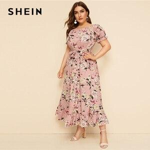 Image 3 - SHEIN Plus ขนาดสีชมพู Ruffle Hem พิมพ์ดอกไม้ Belted ชุดยาวผู้หญิง 2019 ฤดูร้อนฤดูใบไม้ร่วงเรือคอสูงเอวสายชุด Boho
