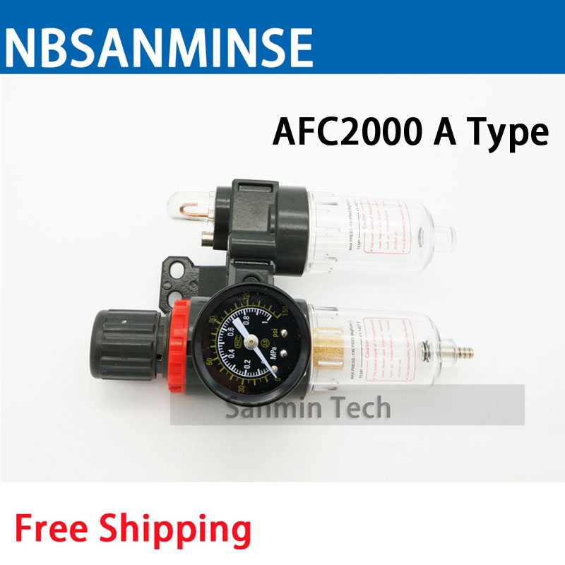 Air Preparation Unit AFC 2000 BFC 2000 1/4 3/8 1/2 Air Source Unit AIRTAC Type Air Compressor Filter Regulator Auto Drain Sanmin 0 65 joint pipe bore dia afc 2000 pneumatic filter filtering regulator