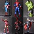 Мстители Халк ПВХ Дэдпул Железный Человек Тор Фигурку Модель Коллекция Игрушек Подарок IronMan Капитан Америка супергерой Человек-Паук