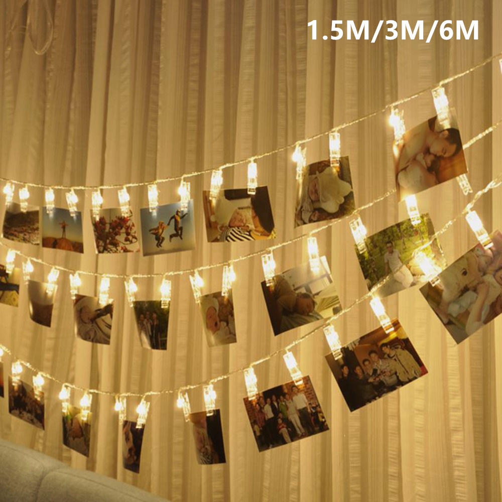 10 20 40 LED Garland Card Photo Clip Led String Fairy Lights Battery Operated Christmas Garlands Wedding Valentines Decoration