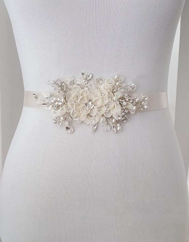 Rhinestone And Floral Wedding Sash, Bridal Belt, Custom Wedding Belts And Sashes