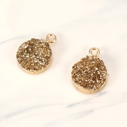 2pc Round Fake Druzy Gold Color Jewelry Finding Irregular Resin Charms  Earrings Pendant Diy Making Necklace Bracelet Charm