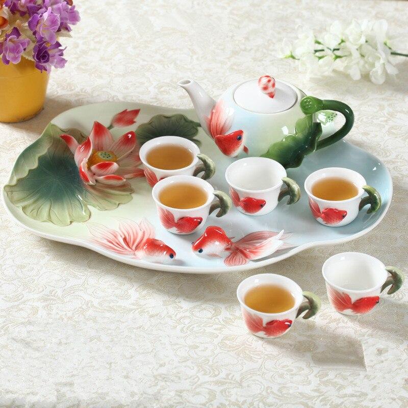 8 pièces chinois Kung Fu émail porcelaine café ensemble thé Set tasses haute qualité en céramique théière européenne thé café tasses