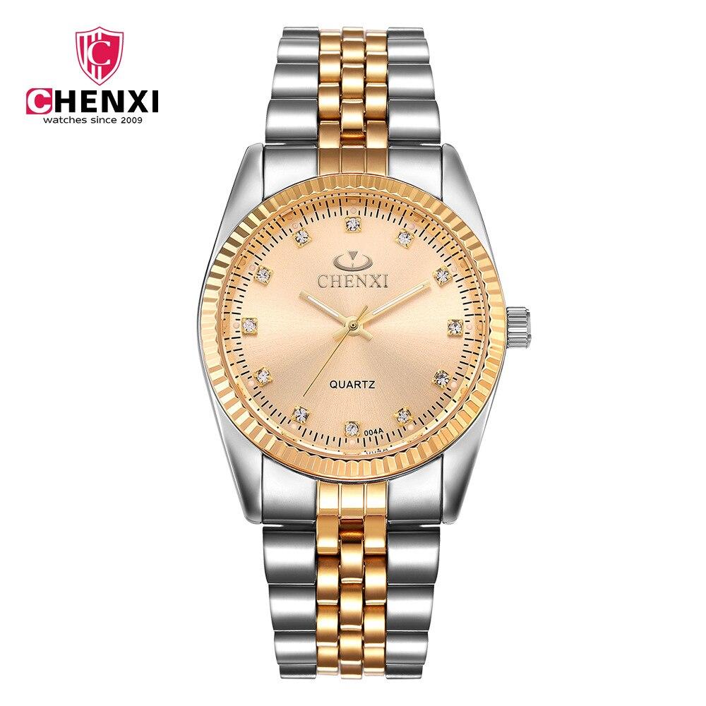004A Fashion Chenxi Brand Between Golden Clock Gold Men Full Stainless Steel Quartz Watches Wholesale Woman Lover WristWatche