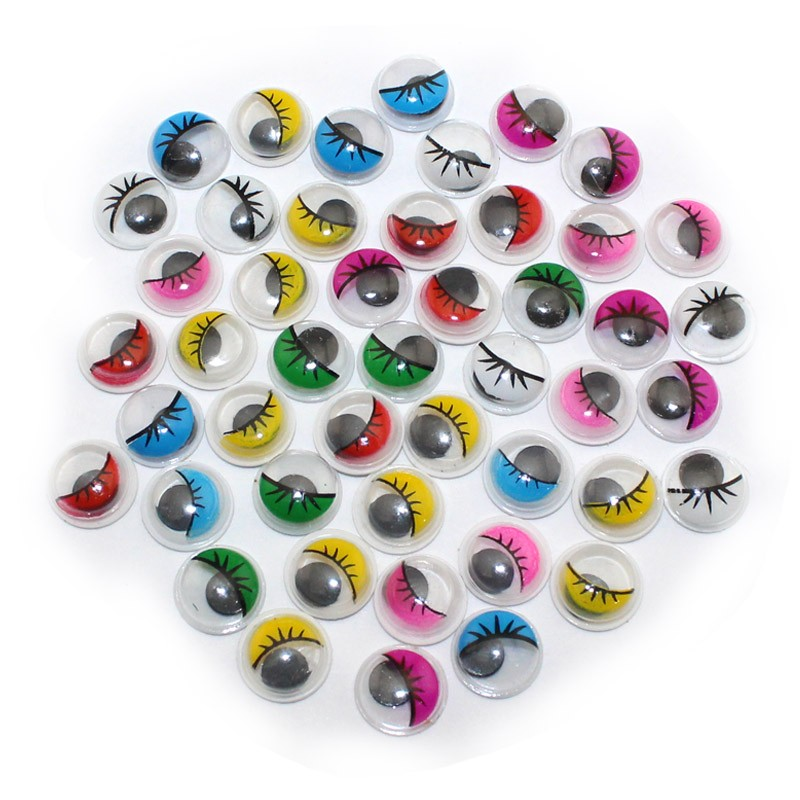 Size 8mm 100pcs multicolor with eyelash eye activities for Craft eyes with lashes