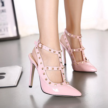 High Quality  Design Rivet Woman Shoes PU Studded Slingback Sexy High Thin Heels Sandals Fashion Pointed Toe Buckle Shoes 2445