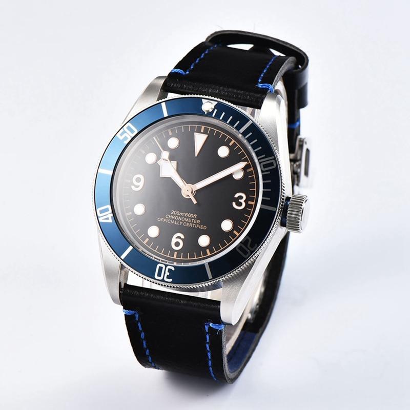 Corgeut 41 мм мужские часы, черный стерильные циферблат наручные часы синий ободок сапфир Стекло Miyota 8215 mov не Wathces WCA2010BLR
