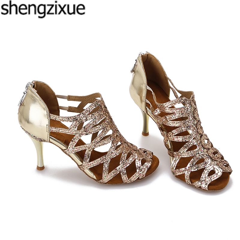 shengzixue New Design Professional Glitter Latin Dancing Shoes Ballroom Dance  Shoes Ladies Weding Shoes 8.5CM New Heel-in Dance shoes from Sports ... 2d7f49fff1e5
