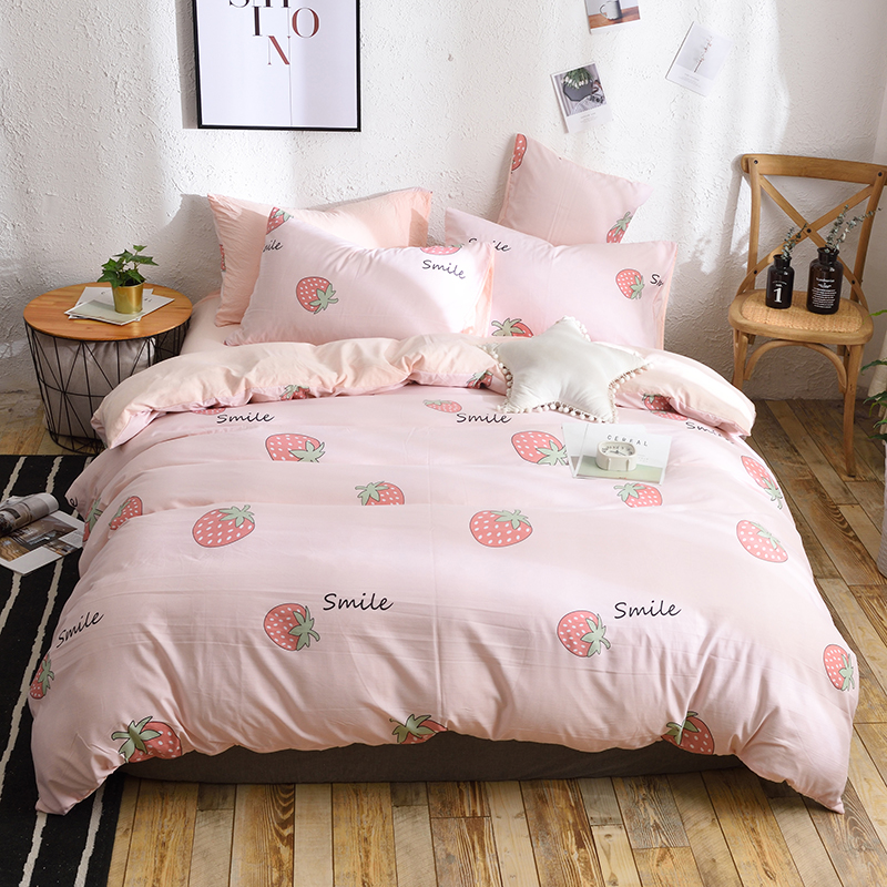 3/4pcs bed sets Bedding Set cute Strawberry Pink Pattern Bed Linings Duvet Cover Bed Sheet Pillowcases girls quilt Cover Sets3/4pcs bed sets Bedding Set cute Strawberry Pink Pattern Bed Linings Duvet Cover Bed Sheet Pillowcases girls quilt Cover Sets