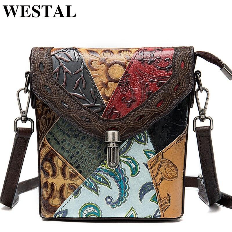 WESTAL Women's Bags Shoulder-Bags Vintage Bohemian Genuine-Leather Messenger/crossbody-Bags