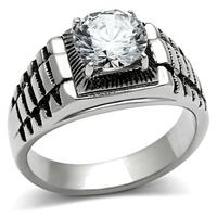 New Look 2014 Luxury Men Jewelry Fine Quality Prong Setting White Color Aaa Zircon Stainless Steel