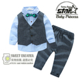 Summer Little Baby Boy Solid Vest Tie Suit Cothes Sets Formal Party Wedding Birthday Toddler Outfit Long Pant Set Plus Size