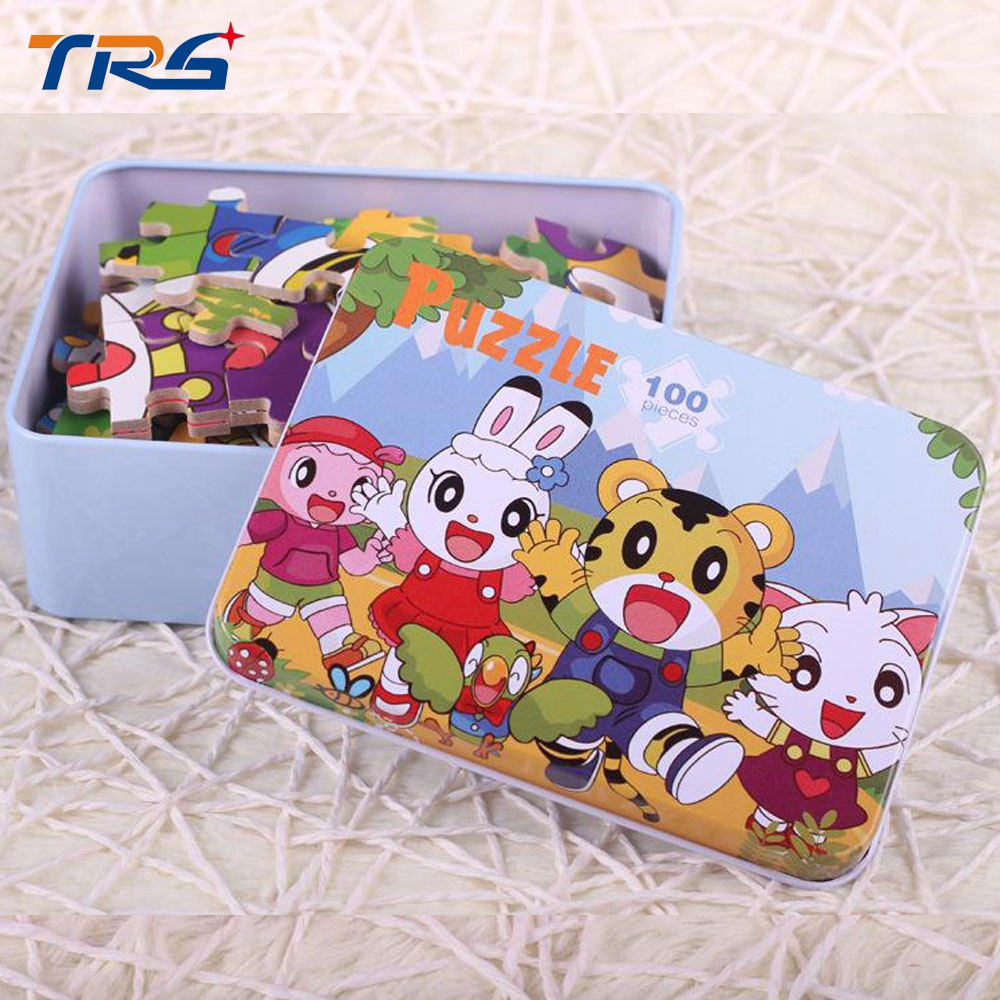 100pcs/set Wooden Puzzle with Iron Box Cartoon 3D Wood Puzzle Jigsaw toys for Children Early Educational Montessori Toys children s early childhood educational toys the bear change clothes play toys creative wooden jigsaw puzzle girls toys