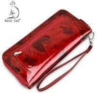 Beth Cat Women Genuine Leather Wallet Female Zipper Long Womens Wallets Butterfly Print Fashion Clutch bags Lady Coin Purse
